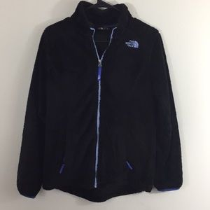 Black North face fur fleece jacket